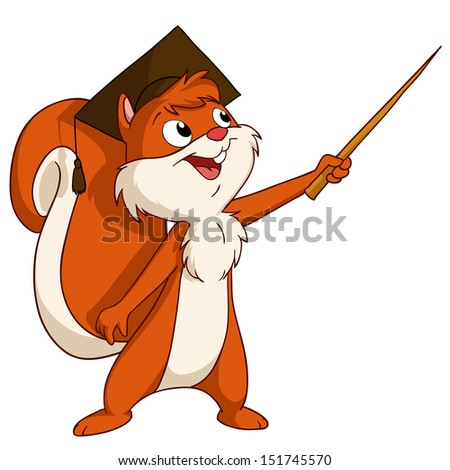 Cartoon squirrel in graduated hat with pointer. Vector illustration.