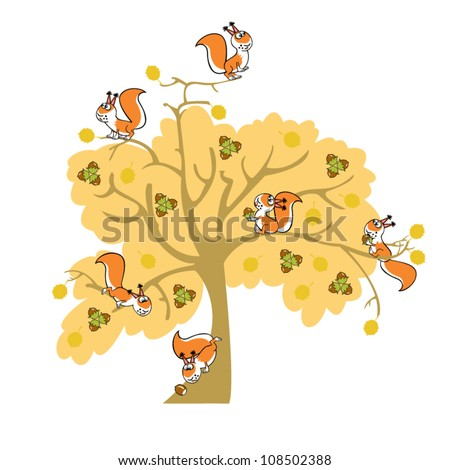 Tree Cartoon Images Cartoon Squirrel in Nuts Tree