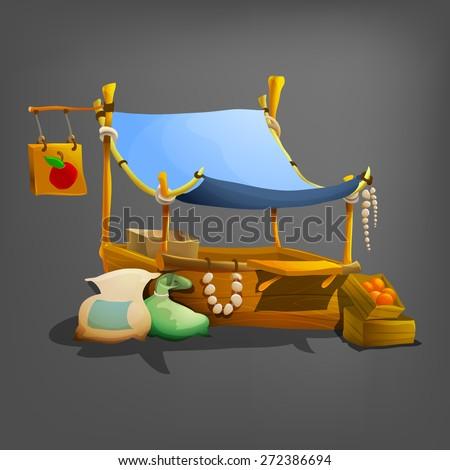 Cartoon stall. Vector illustration.  - stock vector