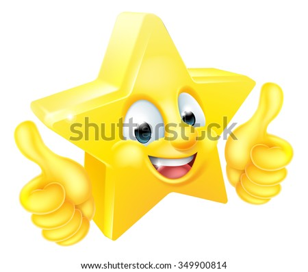 Cartoon star emoji emoticon mascot character giving thumbs up - stock vector