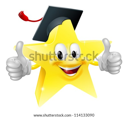 Cartoon star mascot with a graduate's mortarboard cap on giving a thumbs up - stock vector