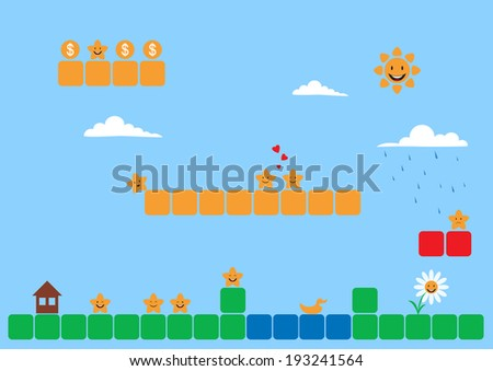 Cartoon stars in the game world. Vector flat design for app - stock vector
