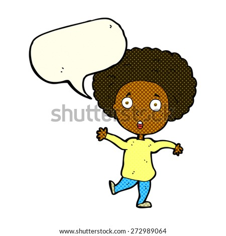 cartoon startled person with speech bubble - stock vector