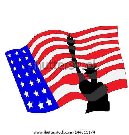Cartoon Statue of Liberty and Flag.Vector Illustration