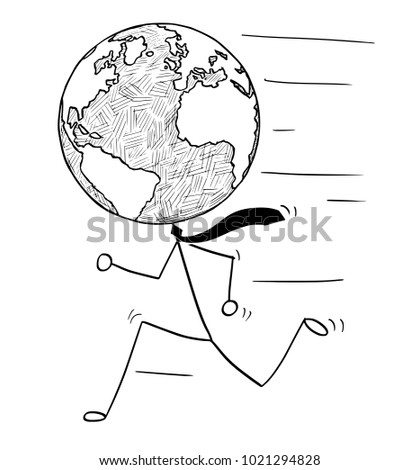 Cartoon stick man drawing conceptual illustration of running businessman with earth world globe as head. Business concept of fast global, international or worldwide business.