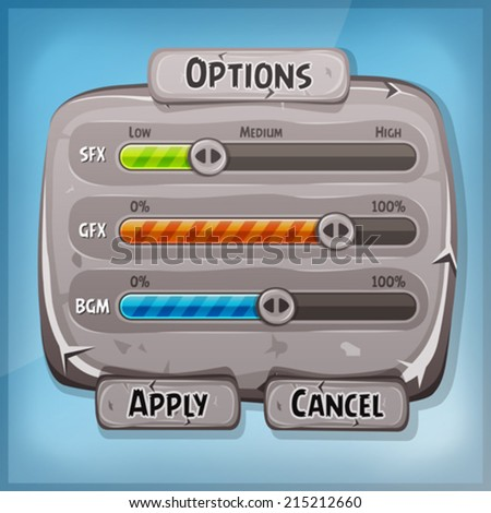 Cartoon Stone Control Panel For Ui Game/ Illustration of a funny cartoon design ui game stone options control panel including status and level bars, for app settings on tablet pc, with spring blue sky - stock vector