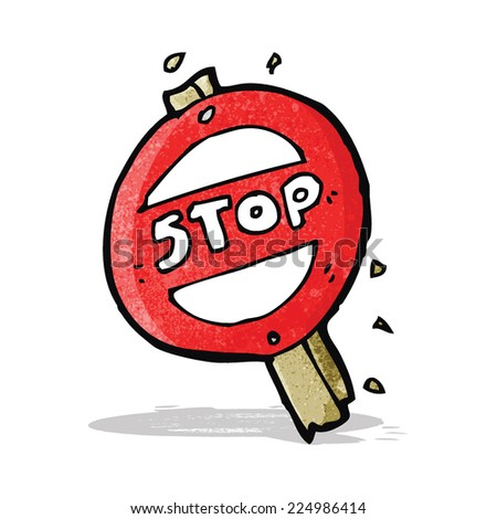 cartoon stop sign - stock vector