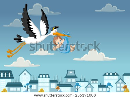 Cartoon stork delivering a newborn baby boy - stock vector