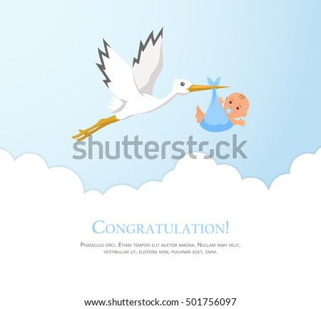 Cartoon Stork In Sky With Baby. Design Template For Greeting Card, Baby  Shower Invitation