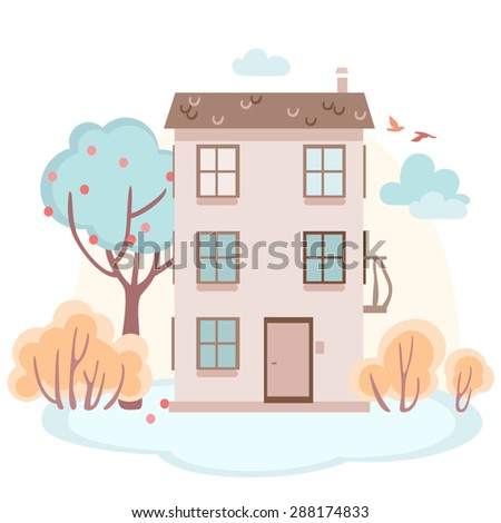 cartoon story house with trees in soft colors