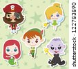 Cartoon story people icons,vector,illustration - stock vector