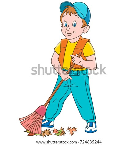 Cartoon street cleaner (sweeper) sweeping out autumn leaves. Colorful book page design for kids and children.