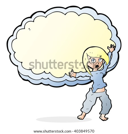cartoon stressed woman in front of cloud with space for text - stock vector