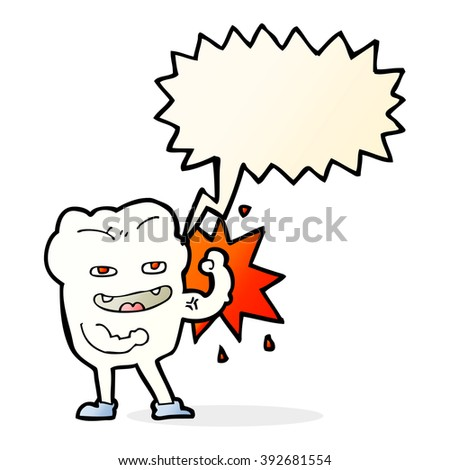cartoon strong healthy tooth with speech bubble