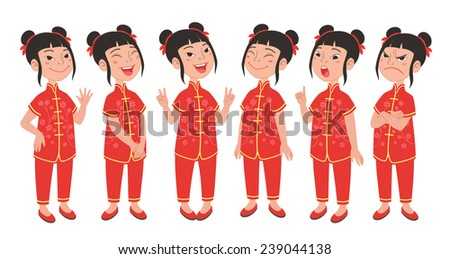 Cartoon style Asian girl wearing traditional Chinese festive costume. Set of original character different standing poses and facial expressions. Vector illustrations collection isolated on background - stock vector