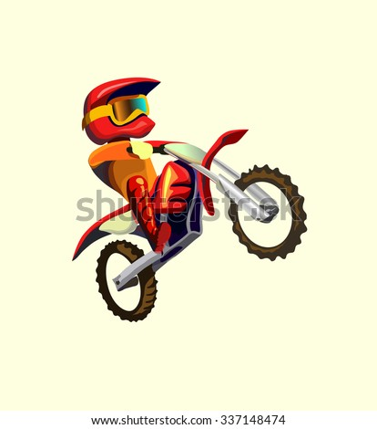 Cartoon style biker making  trick a stunt and jumps in the air Vector illustration