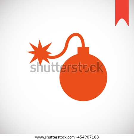 Cartoon style bomb with a burning wick ready to explode. Vector illustration. - stock vector