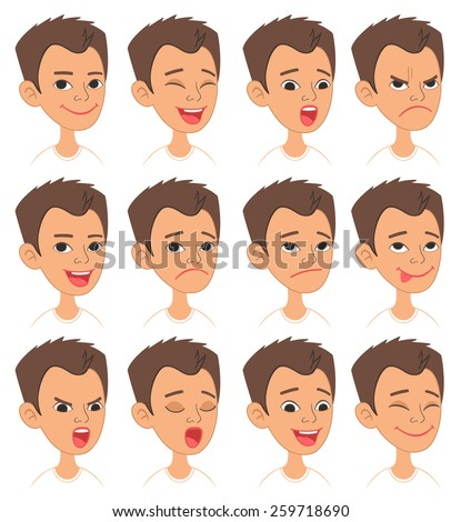 Cartoon Style Caucasian Boy Head. Vector Set of Different Emotions Icons. Easy to modify and edit. Isolated on white background - stock vector