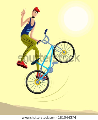 cartoon style cyclist making a stunt and jumps in the air in vector - stock vector