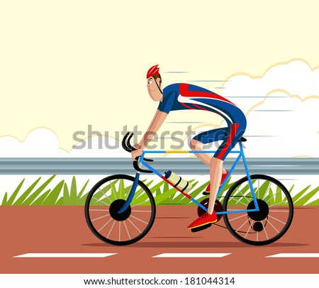cartoon style cyclist riding sports cycle in vector - stock vector