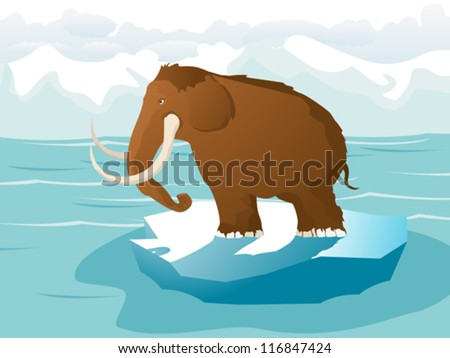 Cartoon style drawing of a mammoth on ice, floating on the frozen sea. - stock vector