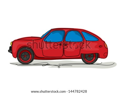Cartoon style drawing of a red sport car. - stock vector