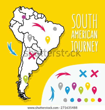 Cartoon style hand drawn travel map of South America with pins vector illustration - stock vector