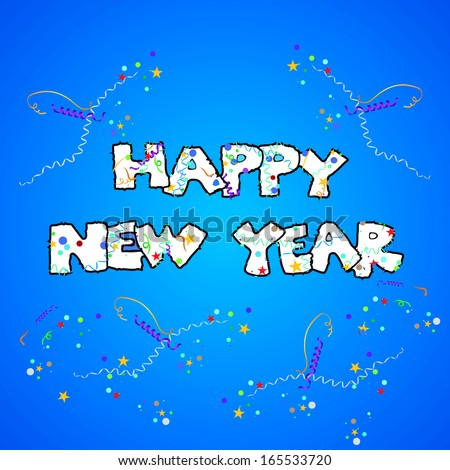 Cartoon style happy new year greeting card - stock vector