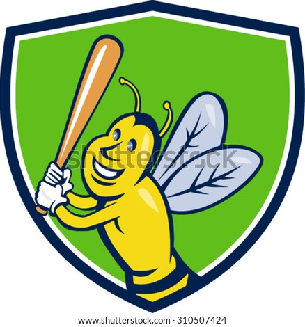 Cartoon style illustration of a killer bee baseball player smiling holding bat batting viewed from the front set inside shield crest on isolated background.  - stock vector