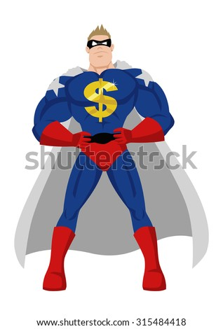 Cartoon style illustration of a superhero with golden dollar symbol - stock vector