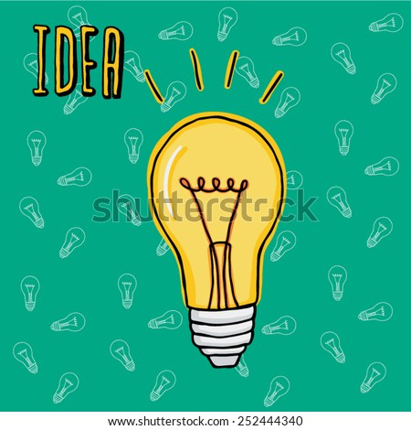 Cartoon style lightbulb with lightbulb background for business presentation