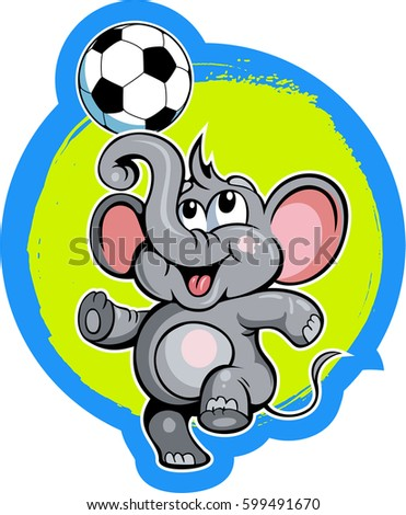 Cartoon style little elephant with the soccer ball, football vector
