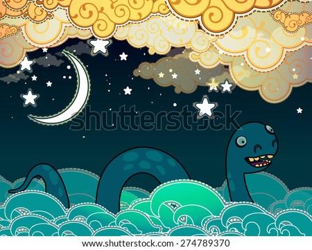 Cartoon style Loch Ness monster - stock vector