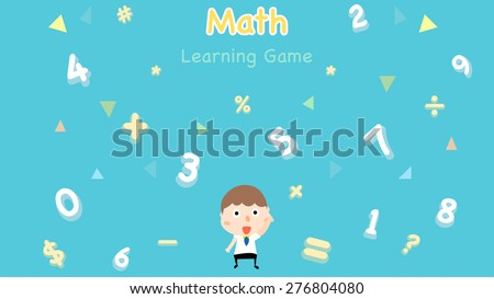 Cartoon style math learning game illustration. Mathematical arithmetic logic operator symbols icon set. Template for school teacher educational usage. Cute boy student character. Calculation lesson. - stock vector