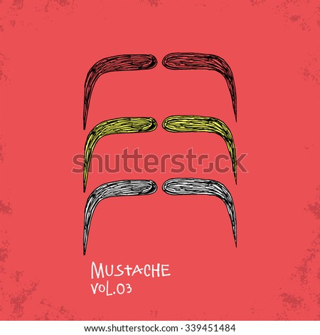 Cartoon Style Mustache Illustration - Vol. 03. - Hand Drawn Hipster Fashion Style Doodle Icon - Isolated Graphic Resource - Vector Illustration - stock vector