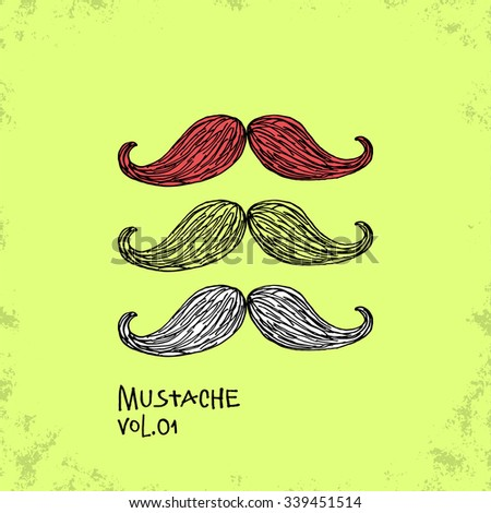 Cartoon Style Mustache Illustration - Vol. 01. - Hand Drawn Hipster Fashion Style Doodle Icon - Isolated Graphic Resource - Vector Illustration - stock vector