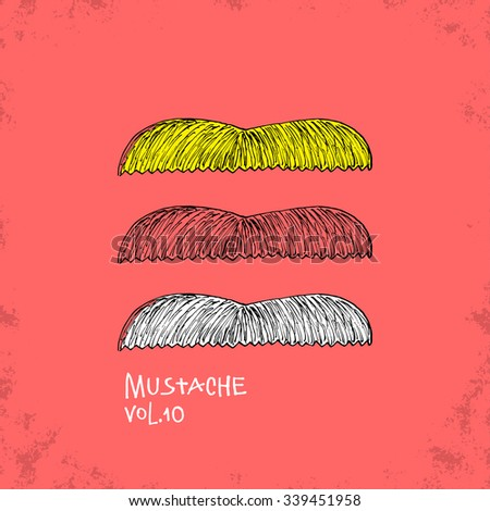 Cartoon Style Mustache Illustration - Vol. 10. - Hand Drawn Hipster Fashion Style Doodle Icon - Isolated Graphic Resource - Vector Illustration - stock vector
