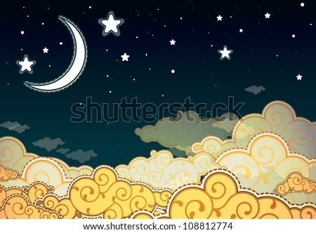Cartoon style night sky - stock vector
