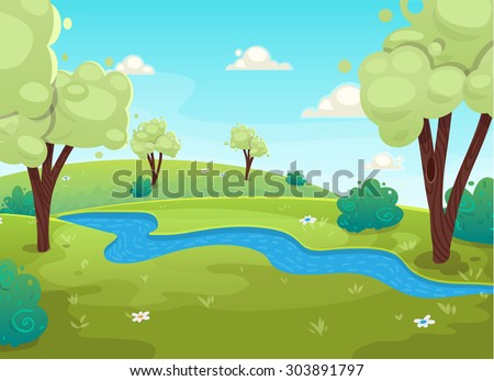Cartoon style river forest tree and bushes flowers background. vector art illustration