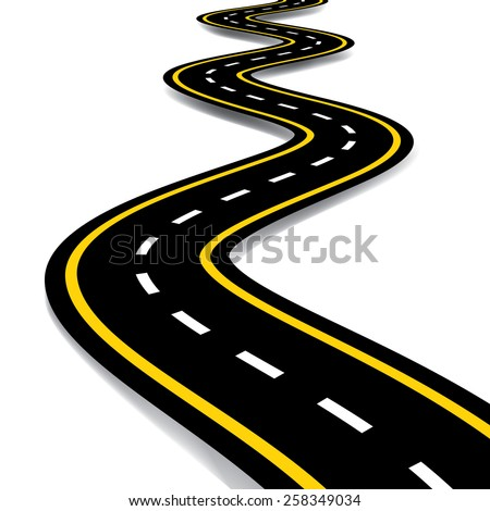 Cartoon style road vector illustration. - stock vector