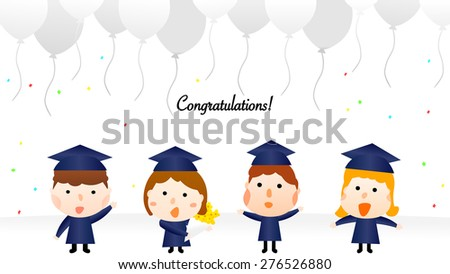 Cartoon style school graduation celebration party illustration. Cute icon set of happy student characters wearing bachelor's degree cap and gown. A girl holding a bouquet of flowers, others gesturing. - stock vector