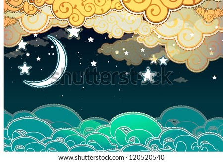 Cartoon style sea and clouds at night - stock vector