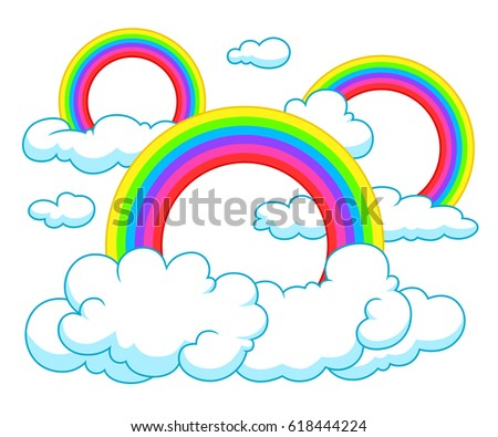 Cartoon style several rainbows and clouds on the white background.