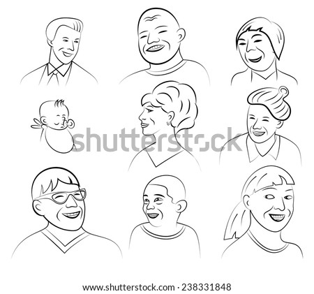 Cartoon Style Smiling and Laughing Faces Set, Vector Illustration - stock vector
