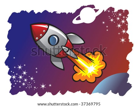 Cartoon style spaceship or rocket flying in the space among planets and stars, vector illustration - stock vector
