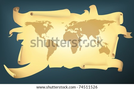 cartoon style torn map of the earth