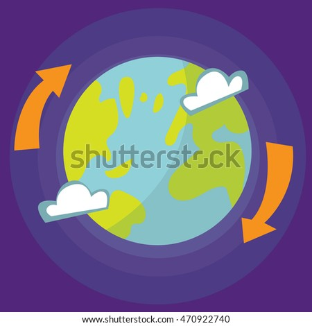 Cartoon style vector illustration of Earth planet in open space. Good for articles about space, recycling, web technologies and Internet