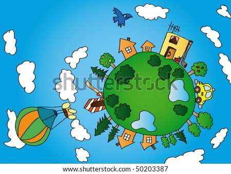 Cartoon style vector illustration of little green planet