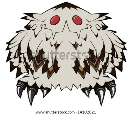 Cartoon stylized bird drawing, over white