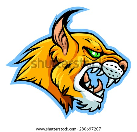 Cartoon stylized portrait of angry lynx with green eyes.